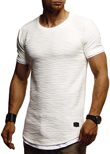 Leif Nelson Herren Sommer T-Shirt Rundhals-Ausschnitt Slim Fit Baumwolle-Anteil Moderner Männer T-Shirt Crew Neck Hoodie-Sweatshirt Kurzarm lang LN8223 Ecru Small