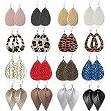 Wremily 16 Pairs Leather Earrings for Women Teardrop Leaf Leopard Print Drop Earrings Lightweight Dangle Earrings Set