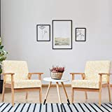 Giantex Mid Century Accent Arm Chairs, Set of 2 Fabric Modern Armchairs w/Rubber Wood, Pretty Pattern, Soft Sponge, Decorative Retro Accent Chairs for Living Room