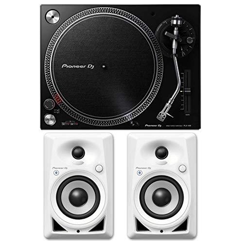 Pioneer PLX-500 Direct Drive Black DJ Turntable+DM-40BT-W 4' Bluetooth Speakers