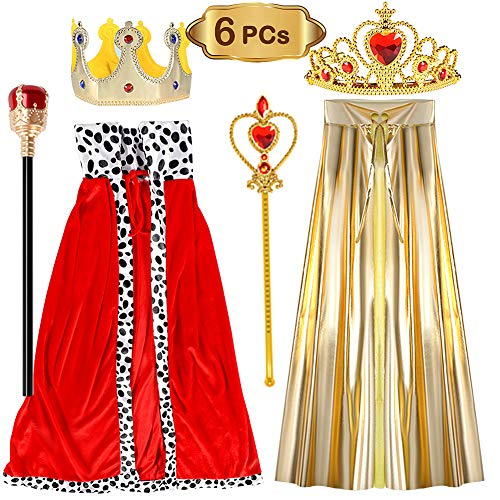 vamei Costume da re/Regina per Bambini Vestito Operato Presepe Vestito Mantello Corona Scettro Reale per Bambini 3-9 Anni