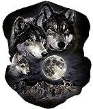 Vogseek Kopfbedeckung Halsmanschette Phantasie 3D-Druck Wolf Bellen unter dem Mond Nahtloser...