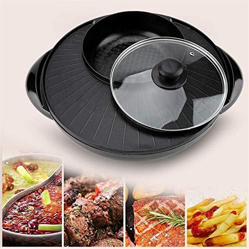 HCMNME Parrilla eléctrica portátil, 2 en 1 Cacerola eléctrica Pot-Multifuncional BBQ BBQ Frye Cook Cock Cock Cocina DE Pan (31 x 36 x 88cm), La Plancha eléctrica Antiadherente del hogar