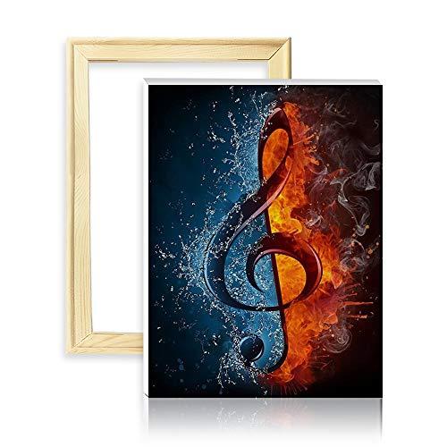 ufengke Musiksymbol 5D Diamant Malerei Set Mosaik DIY Diamond Painting nach Zahlen Kreuzstich Stickbilder, mit Holzkeilrahmen, Design 25x35cm