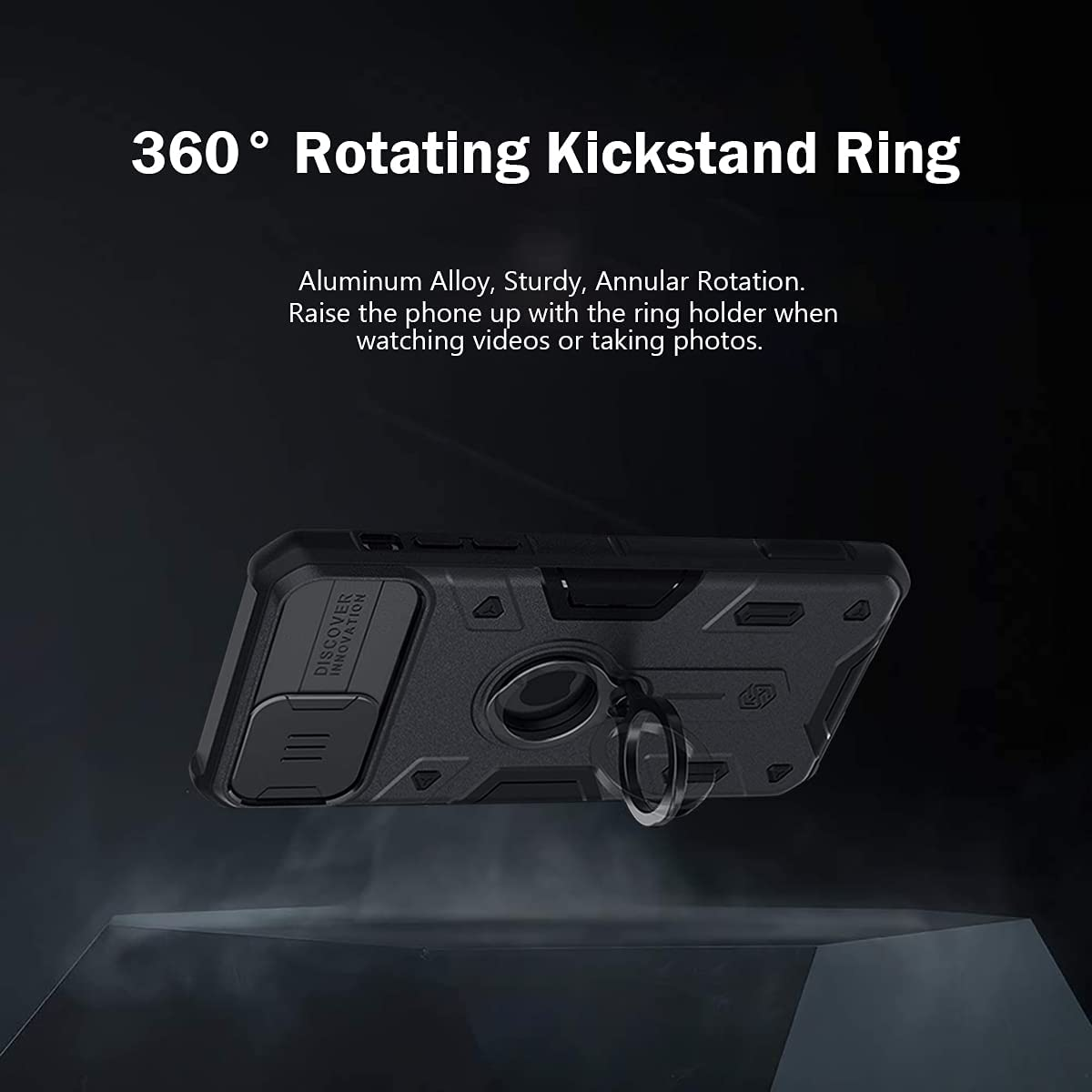 Buy CloudValley Compatible with iPhone 12, 12 Pro Case with Camera Cover &  Kickstand, Slide Lens Protector + 360° Rotate Ring Stand, Black Armor  Style, Impact-Resistant, Shockproof, Protective Bumper Online in Taiwan.  B08NX39ZLY