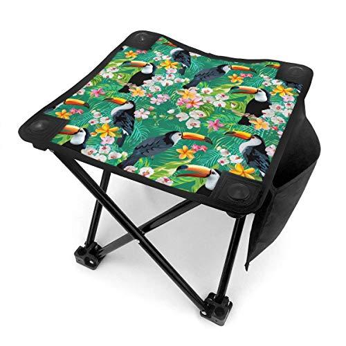 COMMER Taburete plegable con diseño de flores tropicales y pájaros tucanes, con bolsa de transporte, para pesca, senderismo y playa, 30,5 x 30,5 cm