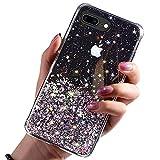 DYBOHF Cover iPhone 7 Plus, Cover iPhone 8 Plus, Custodia con Glitter Bling per Apple Pollici Ultra Sottile Cassa Morbido TPU Silicone Case AntiGraffio (Nero)