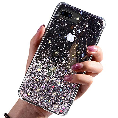 DYBOHF Cover iPhone 7 Plus, Cover iPhone 8 Plus, Custodia con Glitter Bling per Apple Pollici Ultra Sottile Cassa Morbido TPU Silicone Case AntiGraffio (Nero)