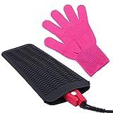 URATOT - Alfombrilla de silicona resistente para alisadores de pelo, resistente al calor, para plancha plana, guantes resistentes al calor, guantes para peinar el cabello