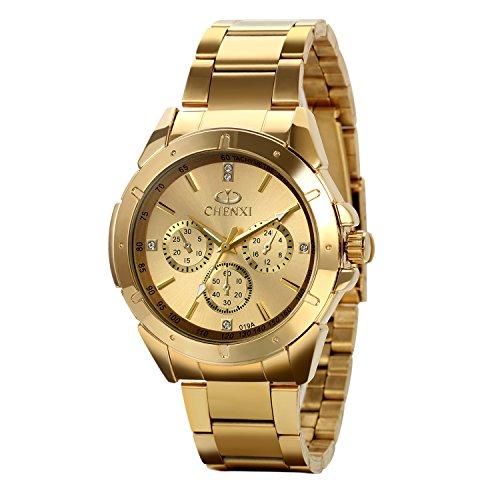 Avaner Reloj Dorado de Esfera Oro de Color, Reloj de Caballero Cuarzo, 3 Subdiales de Decoración, Grande Reloj de Hombre Acero Inoxidable Hip Hop Style, Regalo Navidad (Dorado),Regalos dia del padre