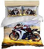 AMCYT - Juego de funda de edredón y funda de almohada (microfibra, 2 piezas, para cama juvenil), diseño de motocicleta en 3D, 3, 220*240