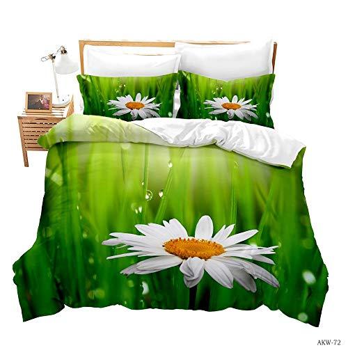 DOORWD 3D Bettbezug Set 3 Stück Grüne Wiese mit weißen Gänseblümchen 240x220cm Microfaser Bettwäsche-Set1 Bettbezug Und 2 Kissenbezug 80x80cm