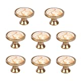 Yishik Set of 8 Marble Ceramic Door Knobs and Pulls for Cupboards and Wardrobes,Cabinet Knobs and Handles Decorative Bronze