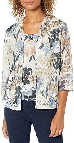 Alfred Dunner Women s Floral Patch Print Two for ONE TOP Neutral M product image