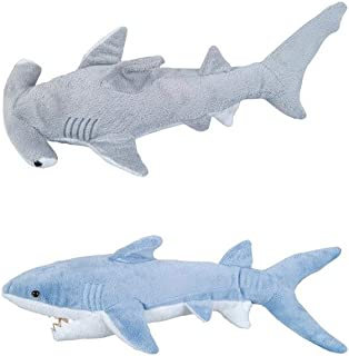 Adventure Planet - Set of 2 Plush SHARKS Mako and Hammerhead Shark - Stuffed Animal -Ocean Life - Soft Cuddly Shark Week Tank Toy, 14in. and 13in. set