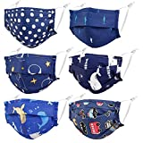 Gyothrig Kids Reusable Face Mask with Adjustable Ear Loops, Soft Fabric Washable Blue Car Whale Face Mask for Protection, Designer Breathable Cloth Cotton Madks Facemask for Girl Boy Children Gift
