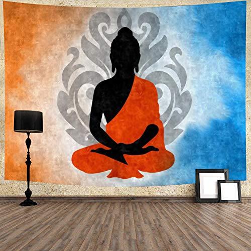 Meditation Buddha Tapestry Yoga Zen Hippie Orange Blue Tapestry 80''x60'' Wall Hanging for Bedroom Living Room Dorm GTZDTY32
