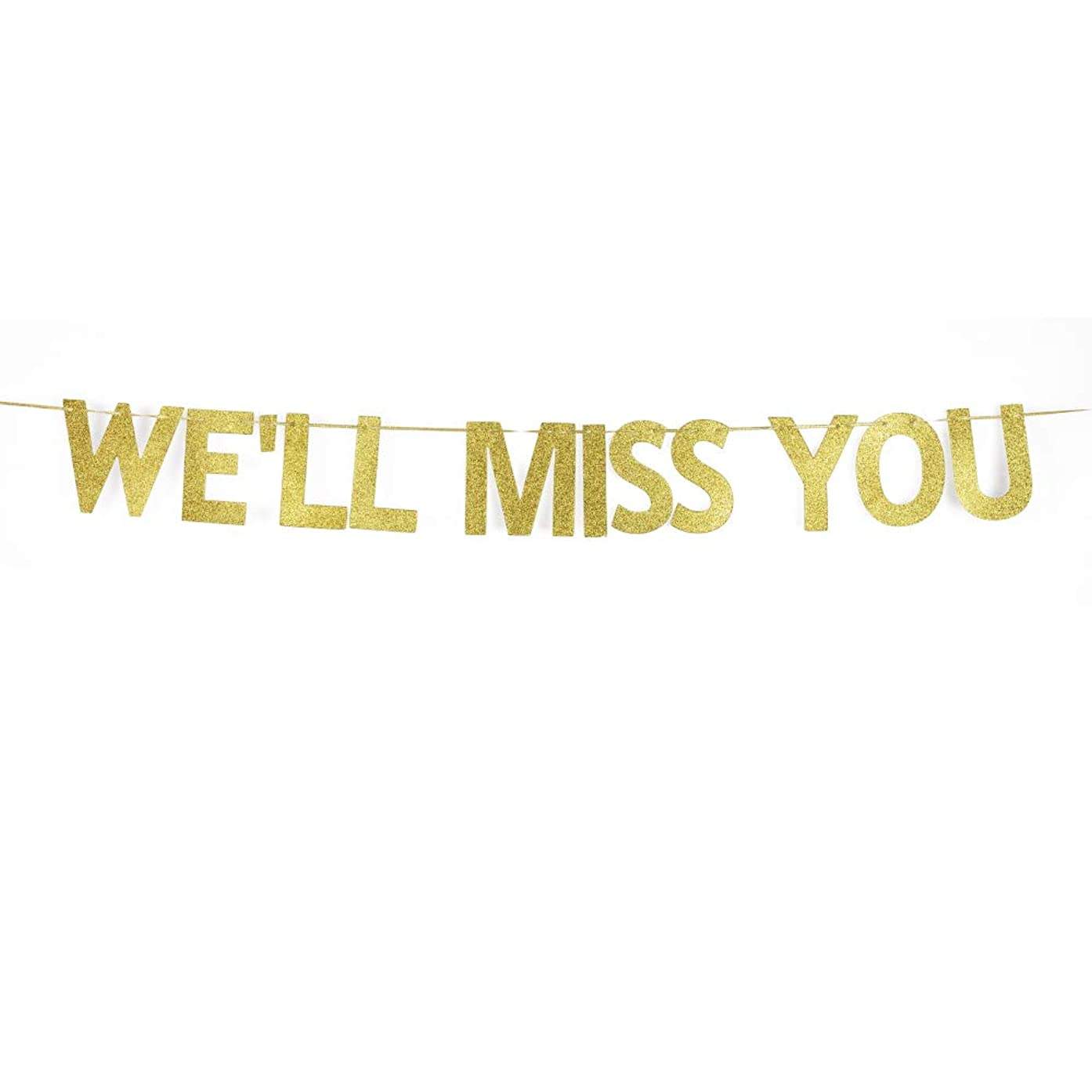 We'll Miss You Banner for Farewell Party Decorations, Graduation/Goodbye/Bye Felicia/Moving Party Gold Gliter Paper Decors