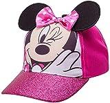 Disney Girls Minnie Mouse Cotton Baseball Cap 3D Ears Glitter Rim (Toddler/Little Girls), Size Age 2-4, Minnie Mouse Pink