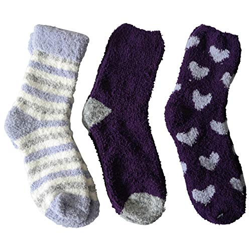 3 Paar Kuschelsocken 35-42 Bettsocken Damen Kuschel Socken Haussocken (Lila -Flieder Mix)