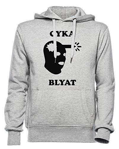 Cyka Blyat Homme Femme Unisexe Sweat-Shirt Sweat À Capuche Gris Taille XXXL - Women's Men's Unisex Hoodie Sweatshirt Grey