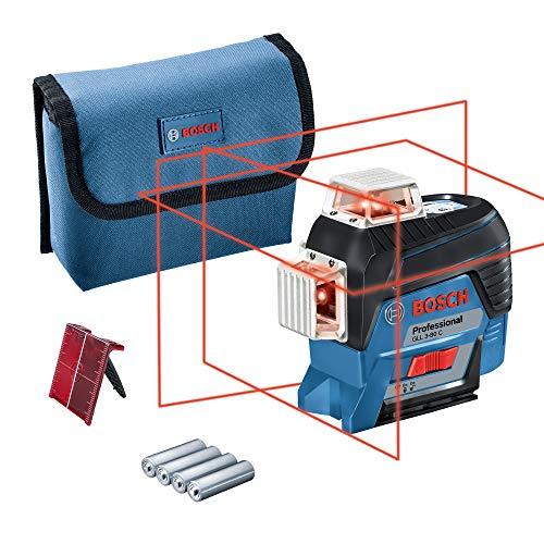 Bosch Professional Linienlaser GLL 3-80 C, App Funktion, Zieltafel, Karton (4 x AA Batterien, Arbeitsbereich mit Empfänger: 120 Meter, 12 Volt System)