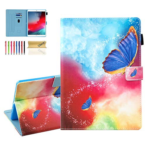 Dteck 10.5-Inch Case for iPad Air (3rd Generation) 2019 & iPad Pro 2017 Tablet - Magnetic Stand Synthetic Leather Protective Smart Wallet Fold Cover with Auto Sleep Wake/Stylus Pen (Space Butterfly)