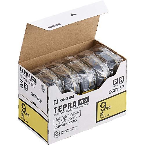 テプラ PRO用テープカートリッジ カラーラベル パステル 黄 エコパック 5個入り SC9Y-5P [黒文字 9mm×8m]