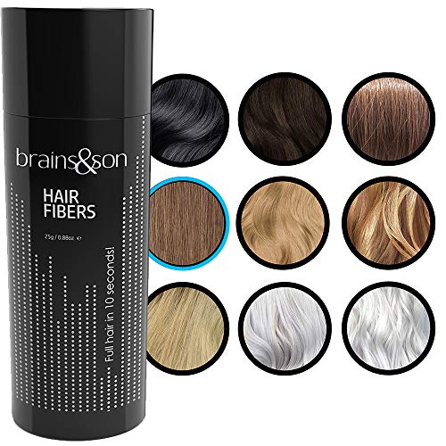 Brains & Son Streuhaar - Premium Haarverdichtung / Schütthaar mit Soforteffekt bei Geheimratsecken, Haarausfall und lichtem Haar - Haarpuder | 25g (HELLBRAUN)