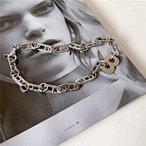 xMxDESiZ Colgante de Plata 925 Moda Metal Letra B Collar Collar de Collar de Cadena de Cadena Cuba Collar de Cuello para Mujer para Mujeres Regalo Collares Pendientes (Metal Color : B Silver Color)