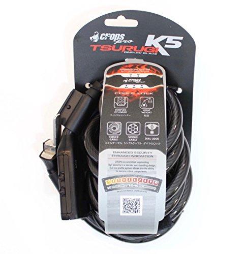 CROPS Cadena candado Pro K5 Tsurugi - 10mm revestido de acero en espiral cable de 180 cm de largo con 5 dígitos de combinación de bloqueo – Bicicleta, Scooter, Moto - Anti-robo - De alta seguridad