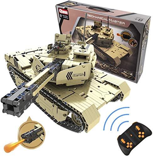 s-idee® 9801 RC Militär Bausteinpanzer mit Fernsteuerung Qihui RC Panzer ferngesteuert mit Schussfunktion Klemmstein Baustein