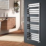 NRG Chrome 1600mm x 600mm Heated Towel Rails Radiator   Flat Panel Bathroom Central Heating Space Saving Towel Warmer Radiators   with One Pair of Free Modern Angel Valves