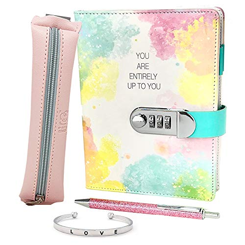 Life is a Doodle PU Leather Locking Journal for Girls - Diary Gift Set Includes a Password Protected Notebook Journal with Combination Lock, a Cute Pencil Pouch, a Bangle Bracelet and Pink Writing Pen