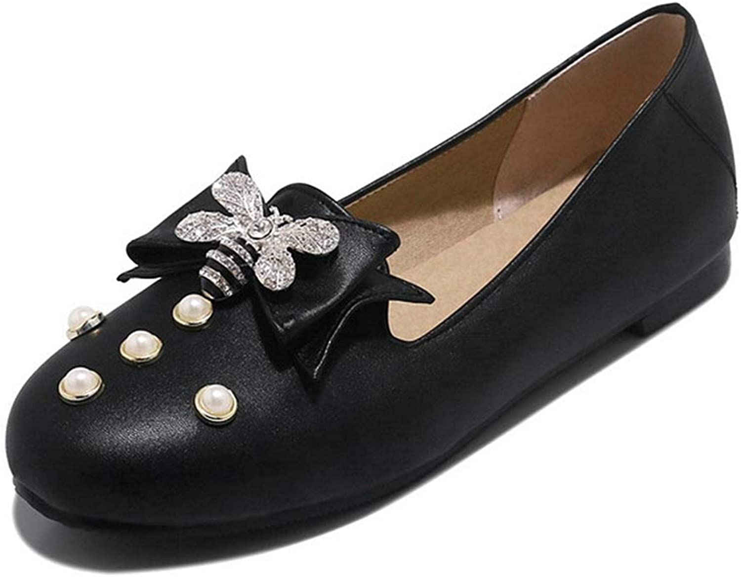 GIY Women's Classic Pointed Toe Ballet Flats Bee Bow Casual Comfort Slip on Dress Walking shoes