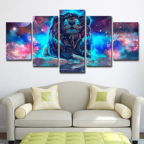 SDSA 5 stuks muurkunst kleur abstracte mist leeuw sterrenbeeld beeld woonkamer art deco 20X30cm-2P 20X40cm-2P 20X50cm-1P Olieverfschilderij op canvas met binnenframe