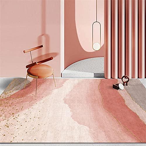 Alfombra Pasillo Alfombra Lavable Lavadora Diseño gráfico geométrico Abstracto Minimalista Minimalista de Oro Rosa Alfombras Bebe 200X300cm