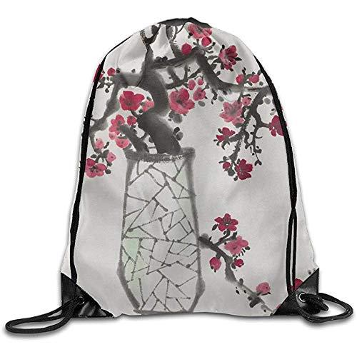 Niet geschikt casual cinch pack oplichtend rode pruimen bloeiende tak in een vaas trekkoord straal mond gym zak schoudertas voor mannen en vrouwen