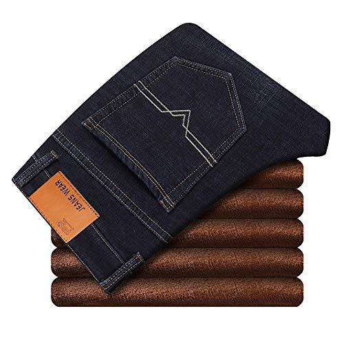 Jeans Slim Fit Stretch Thick Pants Jeans Cálidos Casual Grey Winter Jeans Hombres Black Stretch Grey Jeans 38 Blueblack009