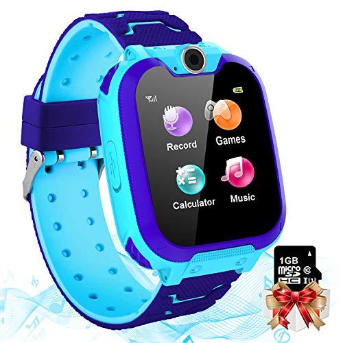 Vannico Smartwatch Kinder, 7 Spiel Musik Kids Smart Watch mit Kameras, Taschenrechner, Rekorder, Wecker, Kind Uhr Telefon mit 1.54'' Touch-LCD für Jungen Mädchen Geschenk (Blau)