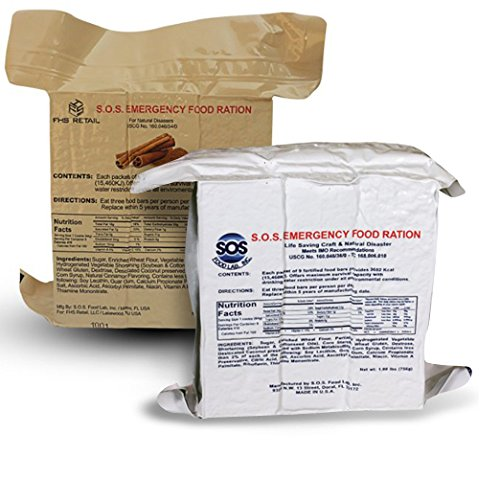 S.O.S. Rations Emergency 3600 Calorie Food Bar (Cinnamon + Coconut, 2...