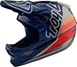 Troy Lee Designs Adult | BMX | Downhill | Mountain Bike | Full Face D3 Fiberlite Silhouette Helmet (X-Large, Navy/Silver)
