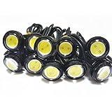 デイライト LED 防水 イーグルアイ 大玉 23mm 10個セット 12V 埋め込み (ホワイト/ブラックボディー)