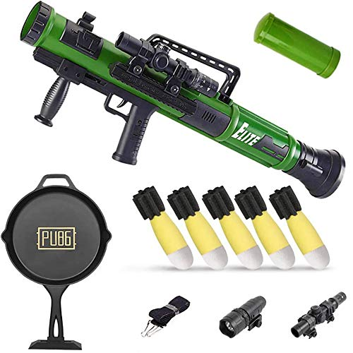 KoudHug Military Toy Rocket Launcher Set, 5 Safety LED Foam Shells - Launch Range of 13-16 Feet - Outdoor Mortar Toys Gift for Boys and Girls Ages 5 Years and Up (Green)