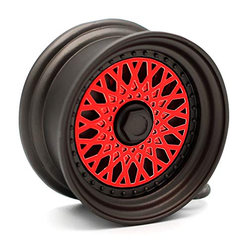 VmG-Store Llavero de llanta BBS estilo mate negro/cromo, colgante macizo (rojo, llanta cromada)