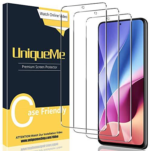[3 Pack] UniqueMe Protector de Pantalla Compatible con Xiaomi Poco F3 / Redmi K40 / K40 Pro, Vidrio Templado [9H Dureza] HD Film Cristal Templado