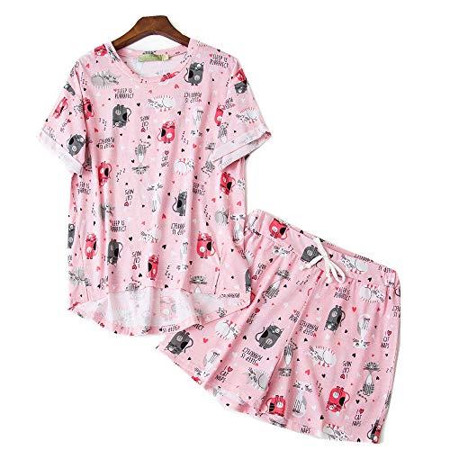 Conjuntos de Pijamas Cortos de Dibujos Animados Lindos de Verano de Talla Grande para Mujeres Pijamas de Damas de Dibujos Animados Pijamas Casuales