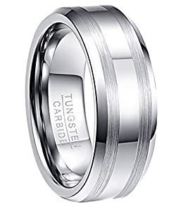 NUNCAD Ring Damen Herren Silber 7 mm breit, Unisex Ring aus Wolfram mit polierter Oberschicht für Hochzeit, Geburtstag und Partnerschaft, Größe 63
