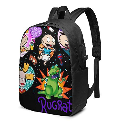 IUBBKI Men Women Packable Backpack with USB Charging Port, Durable rain cover Work Bag, Rucksack Daypack for Outdoor Cycling School, Cute Anime Rugrats-in-Paris