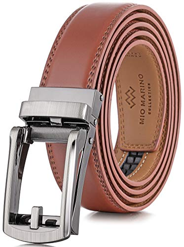Marino Men's Genuine Leather Ratchet Dress Belt with Open Linxx Buckle, Enclosed in an Elegant Gift Box - Light Tan - Style 37 - Adjustable from 28' to 44' Waist